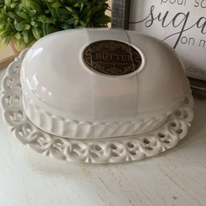 🆕 Modern Farmhouse Ceramic Butter Covered Dish